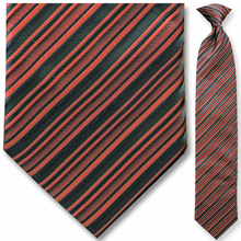 Men's Woven Black + Red Striped Clip On Tie