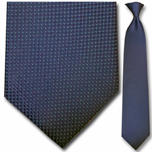 Men's Woven Navy w/ Green Dots Pattern Clip-On Tie