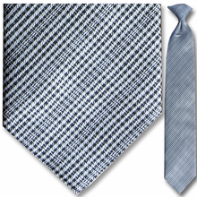 Men's Woven Black + White Plaid Pattern Clip-On Tie
