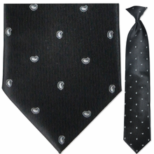 Men's Woven Black & White Small Paisley Pattern Clip-On Tie