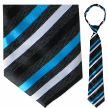 "Men's Woven Black with Blue & White Stripes 19"" Zipper-Tie"