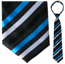 "Men's Woven Black with Blue & White Stripes 23"" Zipper-Tie"