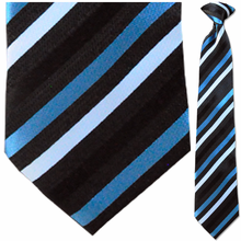 Men's Woven Black w/ Blue + White Stripes Clip On Tie