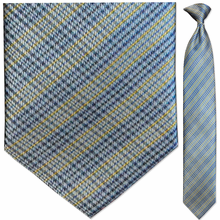Men's Woven Blue + Yellow Plaid Clip-On Tie