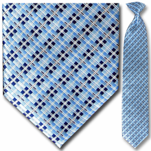 Men's Woven Blue, Black + White Box Pattern Clip-On Tie