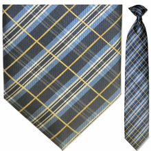 Men's Woven Blue + Black Plaid Pattern Clip-On Tie