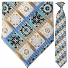 Men's Woven Blue + Gold Pattern Clip-On Tie