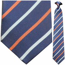 Men's Woven Blue & Orange Striped Necktie