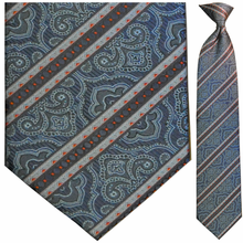 Men's Woven Blue Striped with Red Dots Pattern Necktie