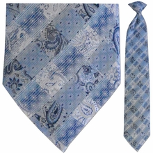 Men's Woven Blue + White Paisley Grid Pattern Clip-On Tie