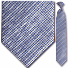 Men's Woven Blue + White Plaid Clip-On Tie