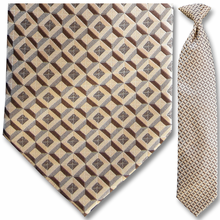 Men's Woven Brown + Beige Diamond Pattern Clip-On Tie