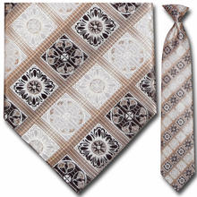 Men's Woven Brown + Beige Pattern Clip-On Tie
