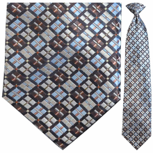 Men's Woven Brown + Blue Box Pattern Clip-On Tie