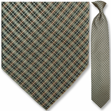 Men's Woven Brown + Green Diamond Pattern Clip-On Tie