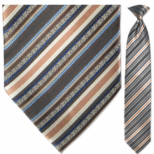 Men's Woven Brown Multi Striped Clip On Tie