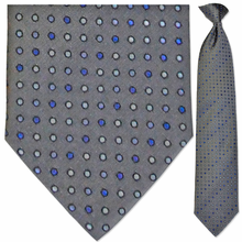 Men's Woven Grey Blue Dot Pattern Clip-On Tie