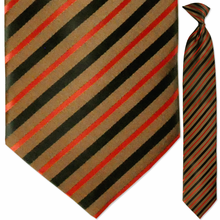 Men's Woven Copper w/ Black + Red Stripes Clip On Tie