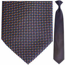 Men's Woven Coral + Blue Pixel Pattern Clip-On Tie