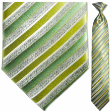 Men's Woven Green and Charcoal Striped Necktie