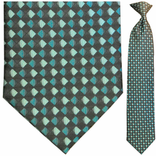 Men's Woven Green + Black Diamond Pattern Clip-On Tie