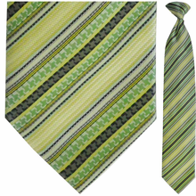 Men's Woven Green Multi-Stripe Clip On Tie