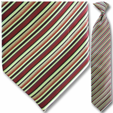 Men's Woven Green & Red Striped Clip On Tie