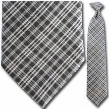 Men's Woven Greyscale Plaid Clip-On Tie
