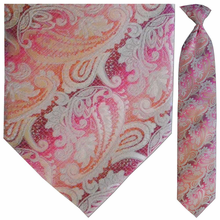 Men's Woven Large Pink + Orange Paisley Clip-On Tie