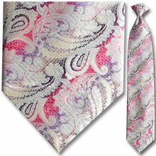 Men's Woven Large Pink + Purple Paisley Clip-On Tie