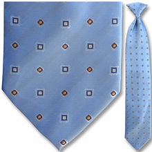 Men's Woven Light Blue Geometric Pattern Clip-On Tie