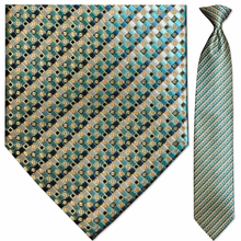 Men's Woven Light Blue + Gold Pattern Clip-On Tie