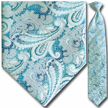 Men's Woven Light Blue + White Large Paisley Clip-On Tie