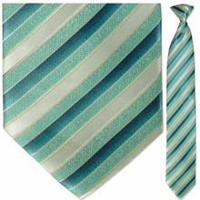 Men's Woven Light Blue & White with Gold Pin Stripes Necktie