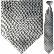 Men's Woven Monochrome Plaid Clip-On Tie