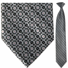 Men's Woven Monochrome w/ Red Dots Clip-On Tie