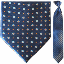 Men's Woven Navy + Orange Snowflake Pattern Clip-On Tie