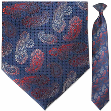 Men's Woven Navy, Red & White Paisley Pattern Necktie