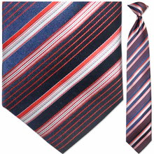 Men's Woven Navy, Red + White Striped Tie