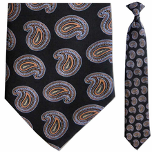 Men's Woven Orange + Black Paisley Clip-On Tie