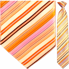 Men's Woven Orange + Purple Striped Clip On Tie