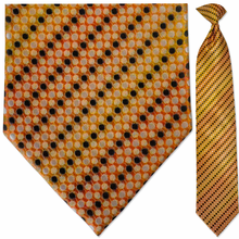 Men's Woven Orange & Yellow Dot Pattern Necktie