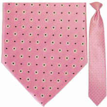 Men's Woven Pink + White Snowflake Pattern Clip-On Tie