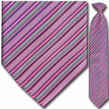 Men's Woven PInk + Grey Stripe Clip On Tie