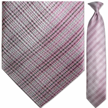 Men's Woven Pink Plaid Pattern Clip-On Tie