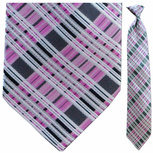 Men's Woven PInk Plaid Clip-On Tie