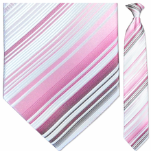 Men's Woven Pink & White Striped Necktie