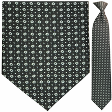 Men's Woven Black + White Snowflake Pattern Clip-On Tie