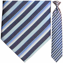 Men's Woven Polyester Blue, Navy & White Striped Tie
