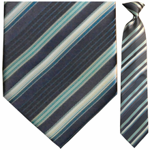 Men's Woven Navy Multi Striped Clip On Tie